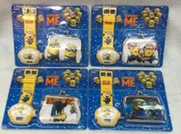 Wholesale Despicable Watches Wallet - Wholesale-New 12sets Despicable Me Projection Watches With Wallet ,Best Gift For Girs Boys Free Shipping GG003