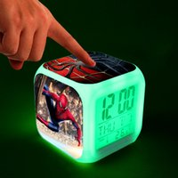 Wholesale Modern Desk Clocks - Spiderman LED Digital Clocks Spiderman Digital Alarm Clock Night Lamp Colorful Changing Digital Alarm Clock Desk Table Clock