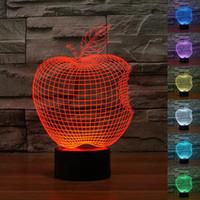 ingrosso l'umore della mela-Apple 3D Night Light Lampada da tavolo a luce variabile RGB LED Mood