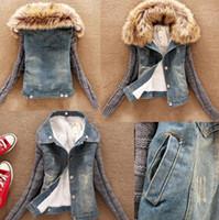 Wholesale Slim Large Lapel Coat - Winter Jacket Women Short Denim Slim Yarn Large Fur Collar Lamb Cotton Denim Outerwear Jeans Casual women Coat Size S-4XL