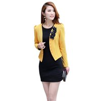 Moda coreano donna manica lunga Slim breve OL giacca Jacket Blazer Coat Office Lady Coat