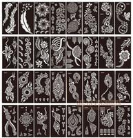 diseños de tatuaje para el pie al por mayor-50 unids / lote henna plantillas de tatuajes para pintar arte corporal glitter plantillas de plantillas tatoo en los pies de la mano diseños de árabes indios hojas
