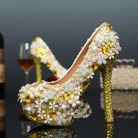 bling olayları toptan satış-El yapımı Ücretsiz Kargo Moda Bayan Modelleme Olay Ayakkabı Bling Altın Köpüklü Elmas Düğün Ayakkabı Gelin Kristal Ayakkabı