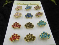 Wholesale Cheap Crown Pins - Free Shipping Cheap Costume Jewelry Rhinestone Crown Brooch Wholesale King Crystal Brooch Pins for Women 12pcs set
