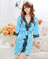 Wholesale Temptation Nightdress Dress Bathrobes - 2016 New Arrival Ladies Sexy Temptation Nightdress Satin Dress Bathrobes Sexy Pajamas Lingerie G-string Free Shipping