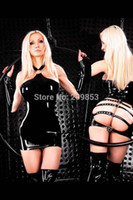 Wholesale Tight Leather Outfits - w1023 Sexy Lingerie he outfit that show a hip coat of paint Patent leather tights dress costume sleepwear