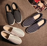 Wholesale Hand Painted Slip Sneakers - women girl Flat Slip On Casual Shoe Sneaker DIY Hand Painted Stripe Canvas Shoes