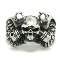 Wholesale Ghosts Band - 2pcs Fast Shipping Ghost Skull Grenade Ring 316L Stainless Steel Fashion Jewelry Cool Biker Double Grenade Ring