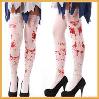 hot cosplay spandex großhandel-2017 heiße Verkäufe Halloween Party Frauen Scary Bleed oder Skeleton Occupational Strümpfe Strumpfhosen Cosplay Weibliche Kostüme Strumpfwaren