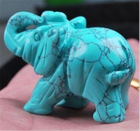 Wholesale carved stone figurines - Wholesale cheap Green Turquoise Hand Carved Elephant,Crystal Healing,Gemstone Animal Figurine