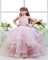 Wholesale Luxurious Pageant Dresses - Luxurious Pink Beaded Crystals Spaghetti Straps Pageant Dresses For Girls Glitz Ball Gown Vestidos De Primera Comunion Hot Kids Formal Wear