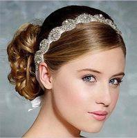 Wholesale vintage fascinators resale online - Vintage Wedding Bridal Crystal Rhinestone Pearls Hair Accessories Flowers Pieces Pins Headband Beaded Princess Tiara Jewelry Suppliers HT10