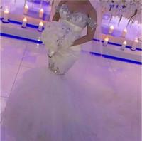 Wholesale Wedding Dress Mermaid Cut - 2017 Bling Crystal Wedding Dresses Off Shoulder Mermaid Bridal Gowns Unique Cutting Robe De Mariage Backless Wedding Dress Plus Size
