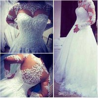 Wholesale Miss Dresses Com - vestidos de noiva com manga 2016 Wedding Dresses New Romantic A Line Beaded Sheer Lace Wedding Gowns Long Sleeve Wedding Dresses