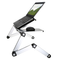 "Wholesale Standing Laptop Tray - EMS Free Adjustable Folding Laptop Desk Tray Stand Surface Splitting 17"" Multi Angle Foldable Tablet Notebook Table for Bed Sofa C2260"