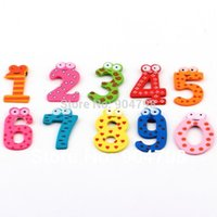 Wholesale Refrigerator Magnets For Babies - 1set cute 10 Number Wooden Refrigerator fridge magnet toys stick Figure Toy for Kid Baby Education Learn Toy
