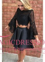 Wholesale Simply Pictures - School Modern Simply Homecoming Dresses 2018 A Line Jewel Backless Capped Long Sleeve Mini Two Pieces celebrity Dresses