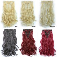 Wholesale Mixed Curly Hair Colours - 2Pcs 50CM Long Hairpiece Curly Wavy Heat Resistant Synthetic Mix Colours Natural Hair Piece 18 Colours Clips in Hair Extension