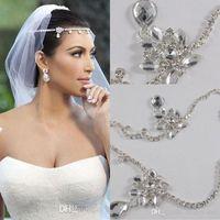 Wholesale Real Hair Accessories - 2016 Kim Kardashia Real Images Rhinestone Beautiful Shining Crystal Wedding Bridal Wedding Hair Piece Accessory Jewelry Tiaras CPA318