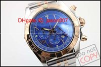 Wholesale Folding Stick - Luxury Brand B01 Sapphire 46 mm Blue dial quartz chronograph Stick Dial two tone Stainless steel Men's Wrist Watches Mode