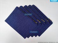 monederos de mezclilla al por mayor-7x10 pulgadas 10oz Indigo Blue Denim Sarga el bolso de embrague metálico del oro postal en blanco puro monedero de la moneda azul del dril de algodón con el azul de ajuste de la guarnición