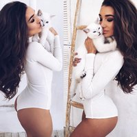 Sexy Bodysuit Women Slim Rompers Body Sexy Femme Buttons Womens White Комбинезон с длинным рукавом Leotard Bodysuit для женщин