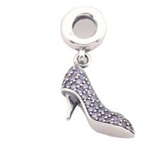 Wholesale Glass Slipper Jewelry - CZ Stone Beads fit Pandora Jewelry DIY Glass slipper Loose Beads fit Pandora Bracelets Making 925 Silver Pandora Chams 925 Ale PJ0032-1E