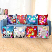 Wholesale Light Up Pillows - LED Christmas Pillow Case 45*45cm Xmas Linen Light Up Cushion Cover Throw Light Home Decor 200pcs OOA3672