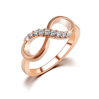 Wholesale Gypsy Rose Wholesale - Fashion Rings Best Quality Fashion Alloy Rose Gold Plated Fine Jewelry Zircon Ring Infinity Crystal Rings For Women Best Gift Wedding Rings