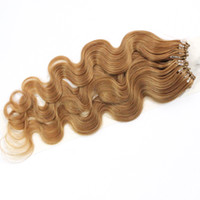 Wholesale Micro Ring Hair Extensions Red - 100strands set Micro Ring Loop Hair Extensions Body Wave 1g strand #1B Black #8 Brown #613 Blonde Red More Color Human Hair