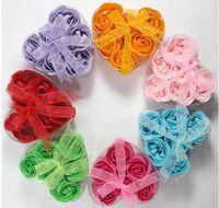 Wholesale Bridal Favors Soap - Rose Flower Petal Soap Bath Petals Soaps Heart Shape Bridal Shower Favors Wedding Soap Birthday Gifts (6pcs=one box )