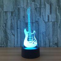 гитарный ночник оптовых-Гитара Творческий 3D Light Модель Электрической Гитары Иллюзия 3d Лампа LED 7 Изменение Цвета USB Night Light