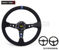 carro de corrida amarelo venda por atacado-Tansky - 350mm Car Universal Auto Racing Volante Couro Alumínio Frame 14