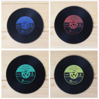 Wholesale Vintage Dining Tables - Vintage Record Coasters Dining Table Placemat Coaster Kitchen Accessories Mat Cup Bar Mug Drink Pads c283