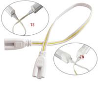 encaixe t8 venda por atacado-50 cm cabo de conexão do fio LED T5 T8 tubo de 3 buracos duplo fio de Extensão fêmea plug para iluminação fluorescente montagem 10 pcs