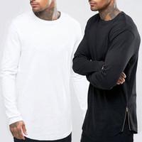 zip boyun üstü toptan satış-Yeni Hip Hop Mens Temel T Gömlek Longline Fermuar Tasarımcı Uzun Kollu O-Boyun Katı T Shirt erkek Eğrisi Hem Yan Zip Üstleri tee