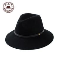 brutierte cowboy mens hüte großhandel-Großhandels-2015 Sombreros Gorras eleganter Wollfilz-Hut-Diskette Cloche-Frauen große Mens-und Frauen-breiter Rand-Hüte Cowboy für