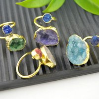 Wholesale Gold Drusy Ring - 5Pcs Natural Druzy Drusy Stone Adjusted Rings 24 kt. Gold Plated Edge Jewelry Finding