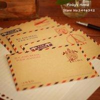 Wholesale Vintage Letter Paper Envelopes - Wholesale- (10 pieces lot) Large Vintage Envelope Postcard Letter Stationery Paper AirMail Vintage Office Supplies Kraft Envelope 11*16