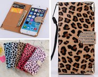 Wholesale Iphone Sex Cases - Fashion Bling Diamond Buckle Sex Leopard Wallet Flip PU Leather Bag Case With Credit Card Slots For iPhone 4 4S 5 5S 6 6G 4.7 Plus 5.5