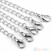 Wholesale Brilliant Necklace - Wholesale-20x Brilliant Silver Plated Bracelet Necklace Chain Extenders Jewelry Findings 4NUJ