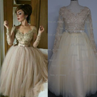 Wholesale Tea Length Lavender Ball Gown - Real Image 2015 Prom Dresses V-Neck Lace Appliques Beading Sequins Sheer Long Sleeve Ball Gown Tulle Champagne Evening Dress Dhyz 01
