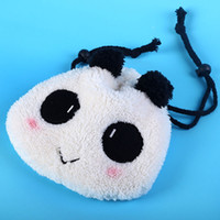 Wholesale Velveteen Fabric - 10 PCS Velveteen Cute Panda Shrink Pencil Bag Drawstring Cosmetic Bag Storage Pouch Cute and soft Multifunctional