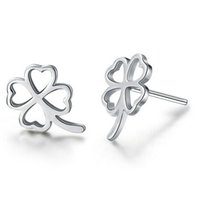 Wholesale 925 silver rose stud earrings - New Jewelry Four Clover Leaf Stud Earrings 925 Sterling silver Earrings for Wedding Party Silver Rose Gold color Free Shipping