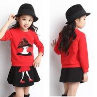 Wholesale Long Girls Shoes - Retail 2015 autumn children sets long-sleeved sweatshirts + skirt Noblewoman High-heeled shoes print girls 2pcs suits kids clothes 201507HX