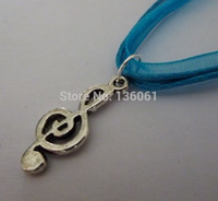 Wholesale Wholesale Organza Ribbon Chokers - Fashion Jewelry Vintage Silver Treble Clef Musical Note Charms Organza Ribbon Choker Statement Necklace& Pendant 10pcs X883