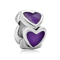 granos europeos del espaciador del encanto europeo al por mayor-Joyería de moda para mujer pulsera Día de San Valentín amor del corazón esmaltado púrpura Espaciador europeo del grano agujero grande encantos para pulseras de cuentas