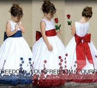 Wholesale Satin Scoop Flower Girl Dress - 2016 New Communion Bridesmaid Pageant Birthday Weddig Party Girl Dresses Scoop Neck A Line White Satin Petal Flower Girl Dresses Custom Made