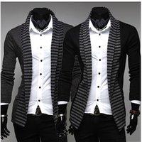 Wholesale Stylish Korean Fashion Mens - Mens Casual Stylish korean coats Men Jackets Coat Men's fashion casual long-sleeved striped color knit cardigan jacket