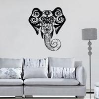 carteles de vinilo adhesivo al por mayor-OM Sign Elefante Pegatinas de pared Religión India Animales Tatuajes de pared Adhesivo de vinilo Patrón Murales